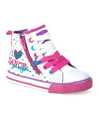 Pineapple Dance Footwear - over off. White Heart Print 'Celia' Hi-Top  Canvas Trainers - Kids