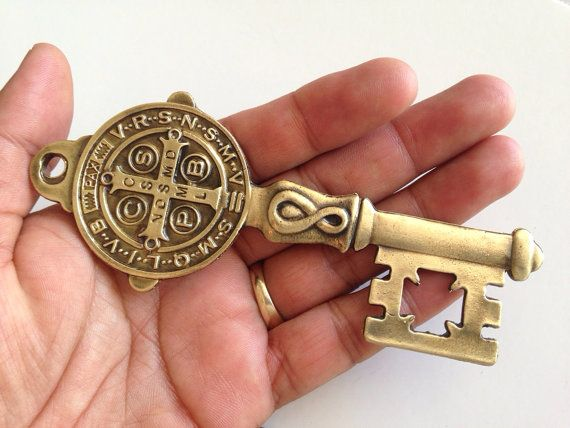 Large Sculpted Brass Tone St Benedict Key Religious by FAITHPIECES, $12.50