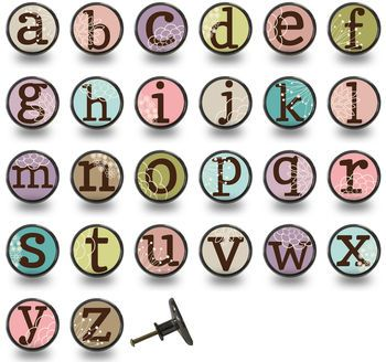 Alphabet Letter Colourful Cupboard Knobs