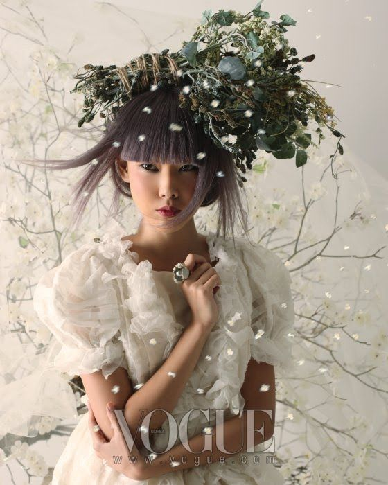 Model: Han Jin (Marilyn)  Editorial: Spring Breeze  Magazine: Vogue Korea, March 2010  Photographer: Lee Gun-Ho  Stylist: Lee Ji-Ah  Hair: Chae Soo-hoon  Makeup: Son Dae-shik