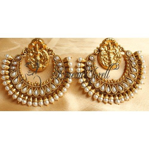BEAUTIFUL ROYAL HUGE PEARL RAM LEELA EARRINGS