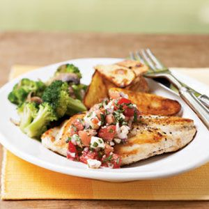 Healthy Chicken Recipes Under 200 Calories  | Chicken Breasts with Gorgonzola-Tomato Salsa | MyRecipes.com