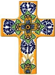 The cross is the universal symbol of Christianity. This Talavera cross is lovingly hand-made of clay and hand-painted with a variety of lively colors by skilled craftsmen in Mexico. The eye-catching designs and radiant colors on this Talavera cross will surely make a beautiful addition to any room. Place this cross in one room or several rooms...wherever you wish to display remembrance of your faith.