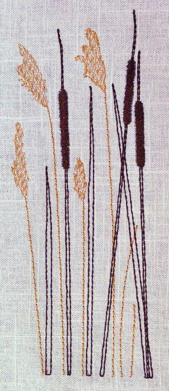 Sammetsmjuka kaveldun. Egen design för maskinbroderi.   Velvet soft cattails. My own design for machine embroidery.  Weiche Rohrkolben. Maschinenstickerei bei mir.