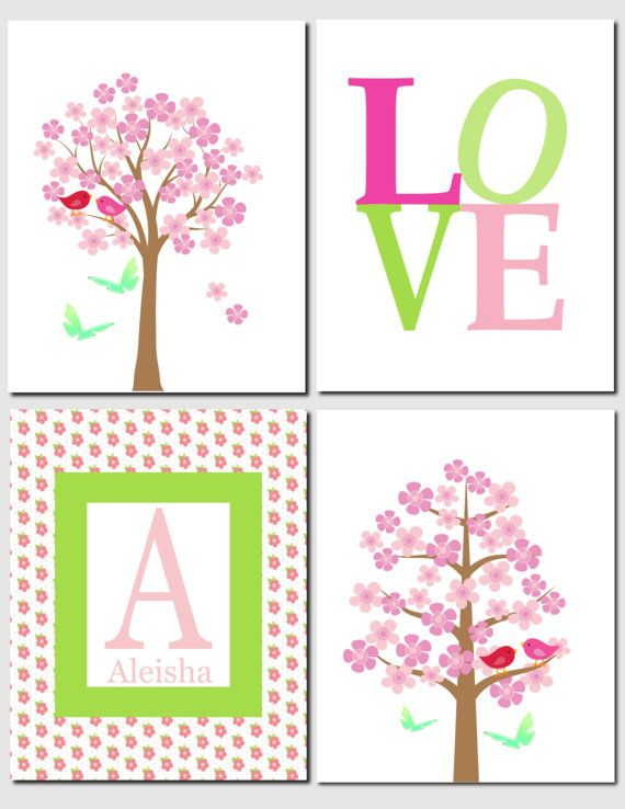 Pink wall decor for nursery : Best images about pink and green nursery art decor on