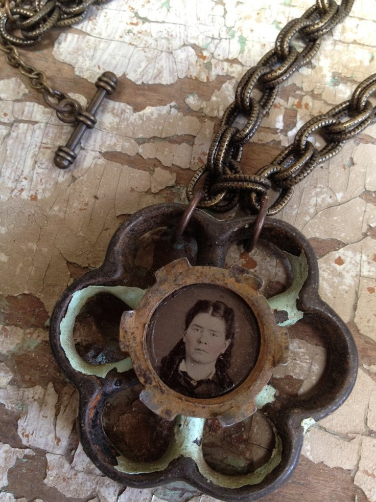 Antique Tintype Assemblage Art Necklace / by SalvageArtSweetheart, $75.00