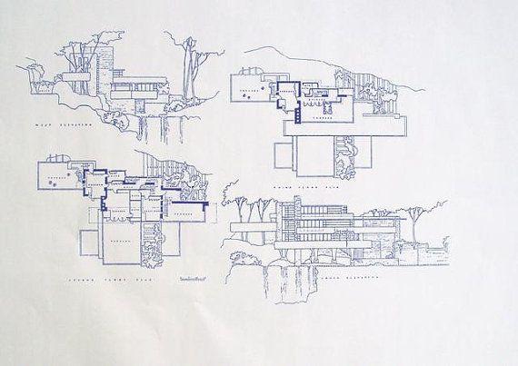 Frank lloyd wright fallingwater blueprint by for Frank lloyd wright blueprints houses