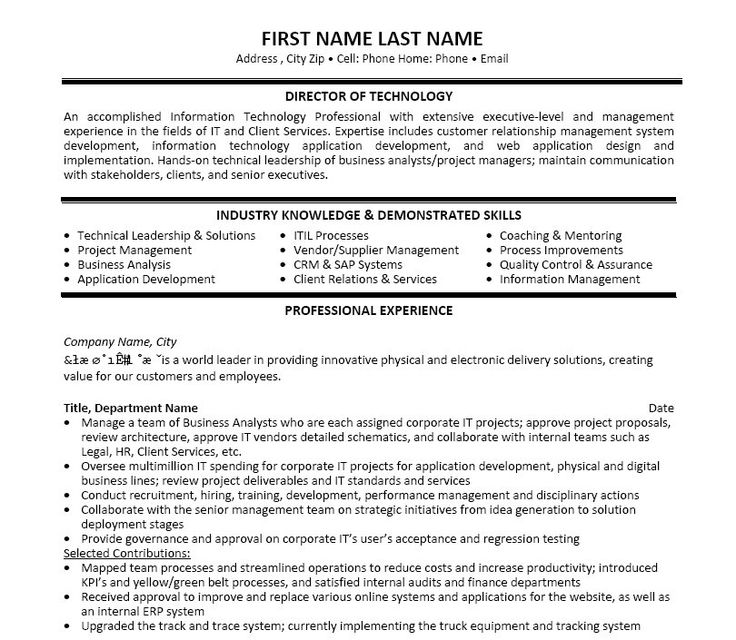11 best Best IT Manager Resume Templates \ Samples images on - example of a resume for a job