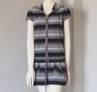 JUICY-COUTURE-Women-039-s-Romper-Jumpsuit-Striped-Hoodie-Shorts-Cotton-Size-Medium