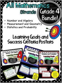 This packet has all the posters you will need to display the learning goals for:Grade 4 Australian Curriculum Maths- Number and Algebra- Measurement and Geometry- Statistics and Probability. All content descriptors have been reworded into smart goals with an accompanying poster showing the success criteria needed to achieve these goals.