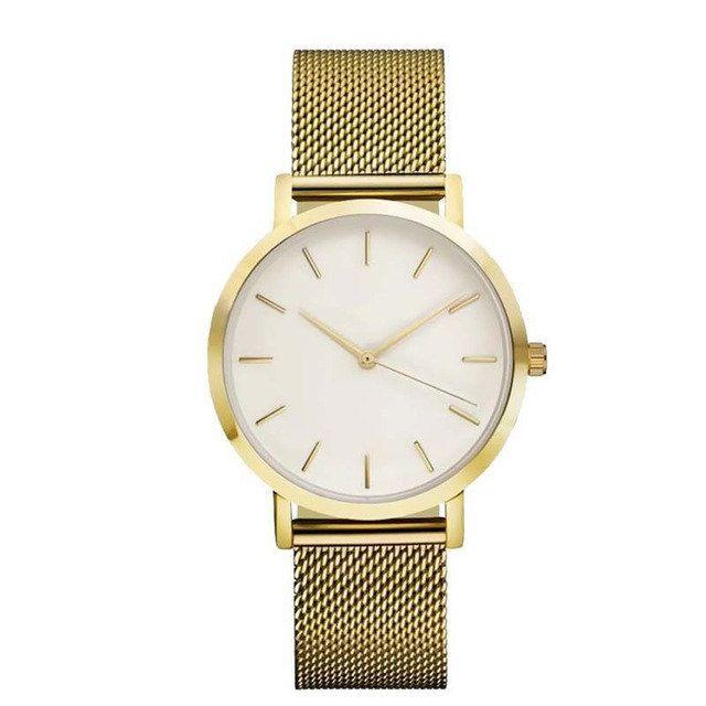 montre minimaliste dore