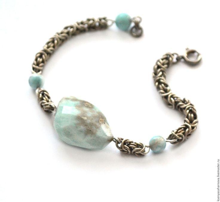 Купить Браслет с ларимаром в серебре Морской - браслет кольчужный, браслет с ларимаром, крупный ларимар браслет