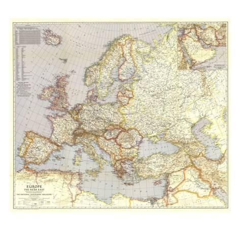 Art Print: 1940 Europe and the Near East Map by National Geographic Maps : 12x12in – Art.com