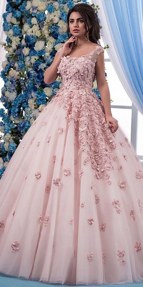 Fantastic Tulle V-neck Neckline A-line Wedding Dress With Lace Appliques    3D Flowers   Beadings f2ba6efbe
