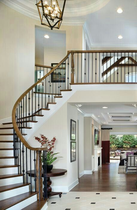 358 best images about entry foyers staircases and for House plans with stairs in foyer