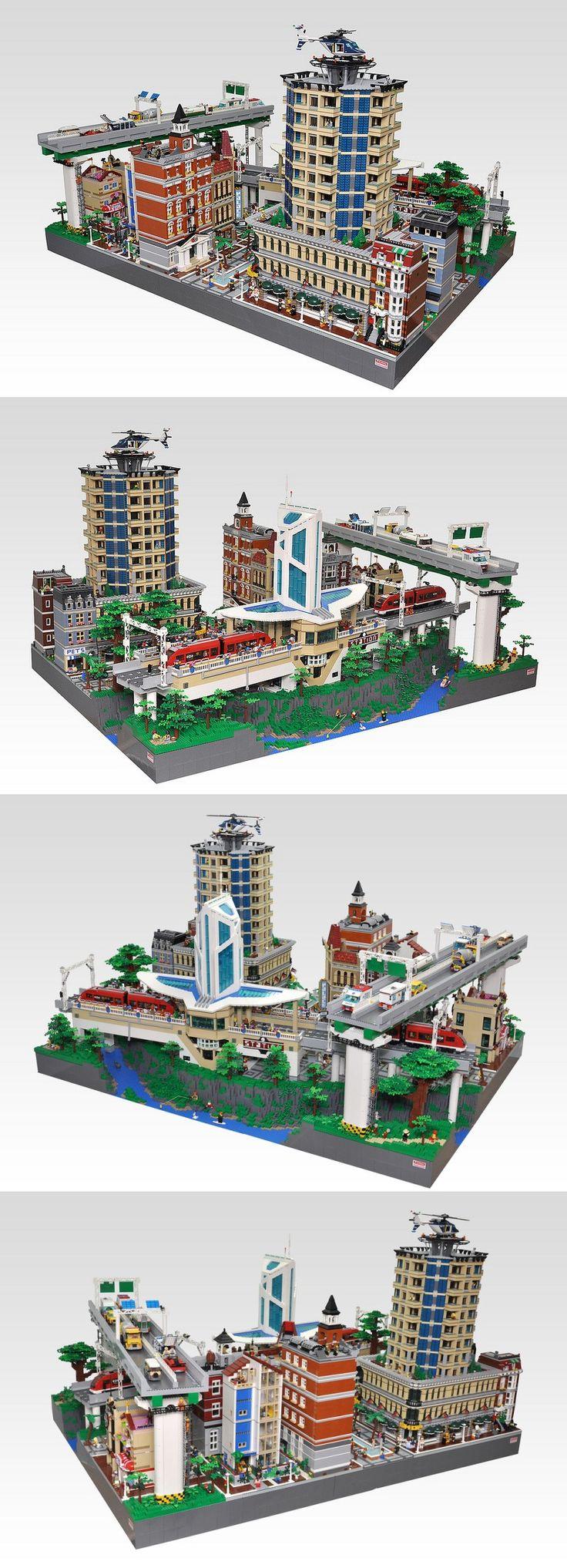 Insane Lego city.  Train station, raised highway, buildings.  Modified modular buildings.