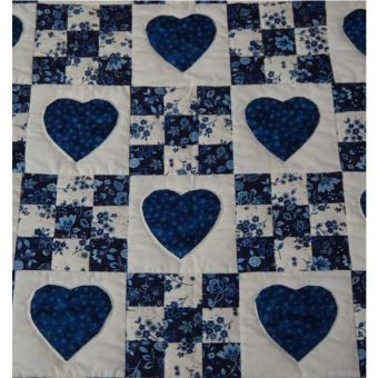 Shop Quilt Designs in Heart and Nine Patch Design at Almost Amish - hearts are appliqued