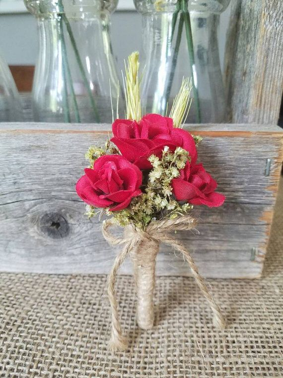 Romantic Wedding Boutonniere Boutineer Christmas by TheRusticPorch