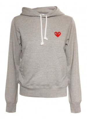 Comme des Garcons Play PLAY Womens Red Heart Hoody Grey