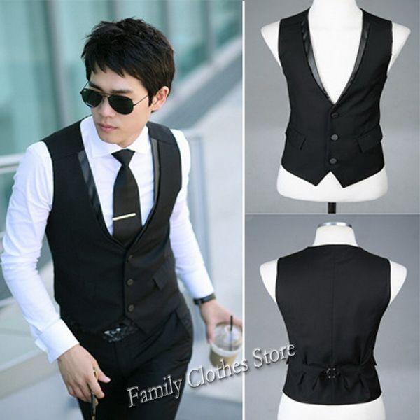 Верхний прибытия верхний контейнер черный хлопок приталенный бизнес мужчины платье верхняя одежда жилет с v-образным вырезом M / L / XL / XXL V07