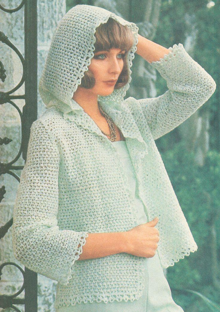 Vintage 1970s Crochet Knot Stitch Hooded Jacket Pattern PDF 7611