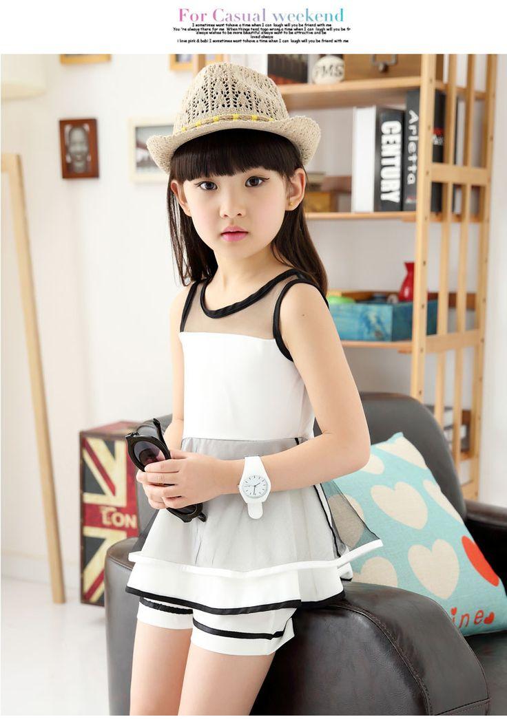 2016 лето Корейский детской одежды для девочек с короткими рукавами шорты досуг костюмы, Одежда для девочек 4-12 лет корейский кусок - Taobao