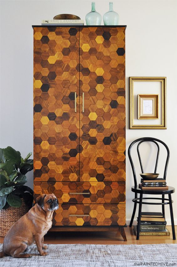 Mid-century modern hexagon parquetry armoire make-over (with complete tutorial) | The Painted Hive