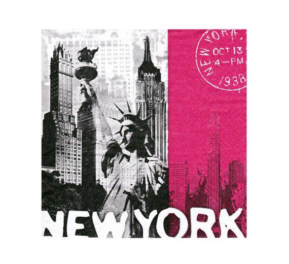 New York decoupage paper napkin serviette  x 1. For by StitchBomb