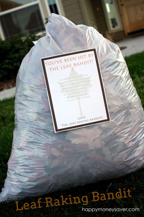 """Leaf Raking Bandits - fun service project to do with your family! Go to houses and rake up their leaves for them. Don't forget to leave behind the FREE printable """"raking bandit"""" poem! Love, love, LOVE this!!!"""