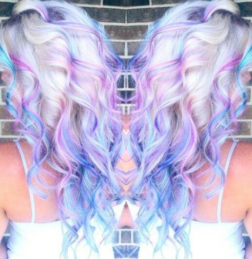 Blonde hair with purple blue streak dyed hair