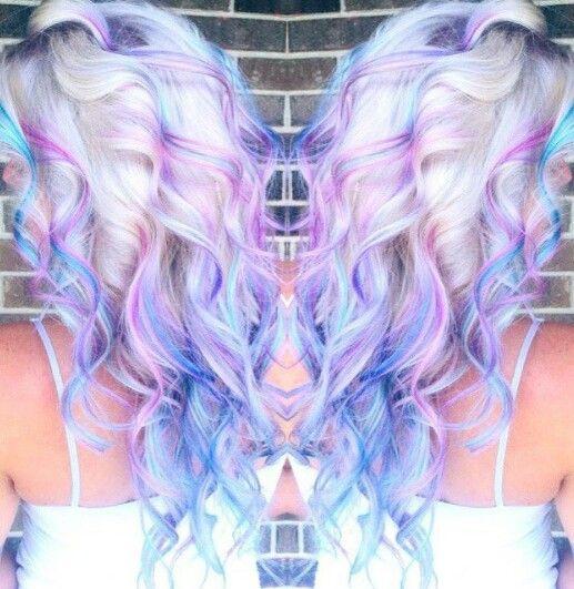 Blonde hair with purple blue streak dyed hair