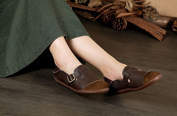 Large Size Handmade Women ShoesOxford Shoes Flat Shoes