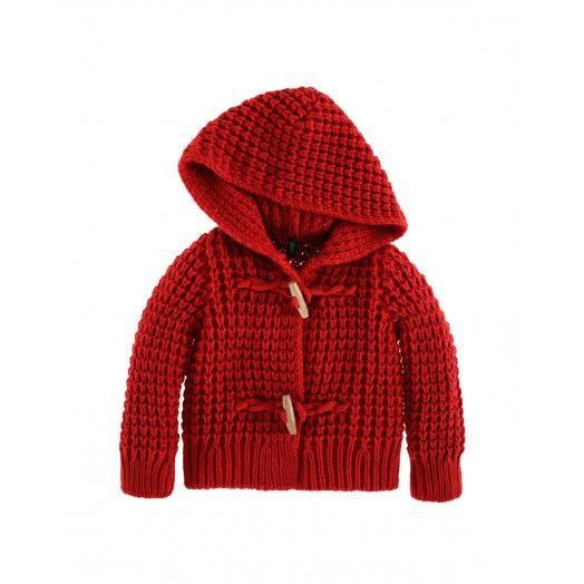 Montgomery maniche lunghe, con cappuccio, in morbido acrilico misto lana. Apertura frontale con alamari in legno. 39,95