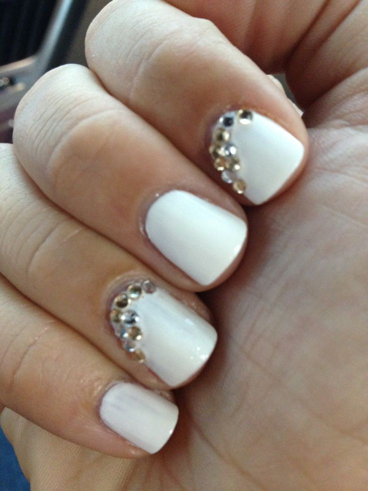 38 best nail art images on pinterest nail art nail art tips and white nail polish with gold and silver rhinestones white nail art prinsesfo Choice Image