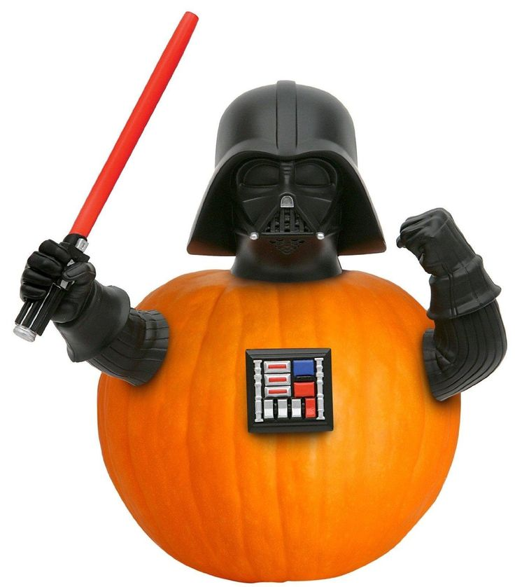 Introduce your pumpkin to the Dark Side! This Halloween pumpkin decorating kit includes four push-ins made up of Vader's helmet, arms, lightsaber and chest plate. For size reference, the lightsaber is