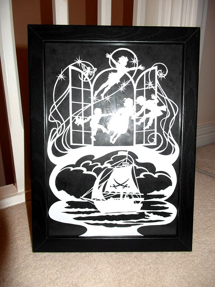 Peter Pan paper cut. Template by Bramble Crafts. Yet another cut for an online auction to raise vital funds.