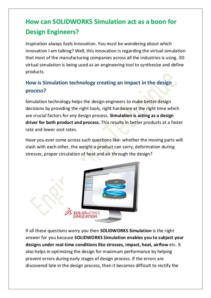 Simulation technology is the best solution for all the companies as it helps the designer to identify the defects at the earlier stage of the design process, helps the designer from making any big mistake and thus it saves cost to the company. #solidworks #simulation #3d #cad #engineering #design #engineeringtechnique @solidworks