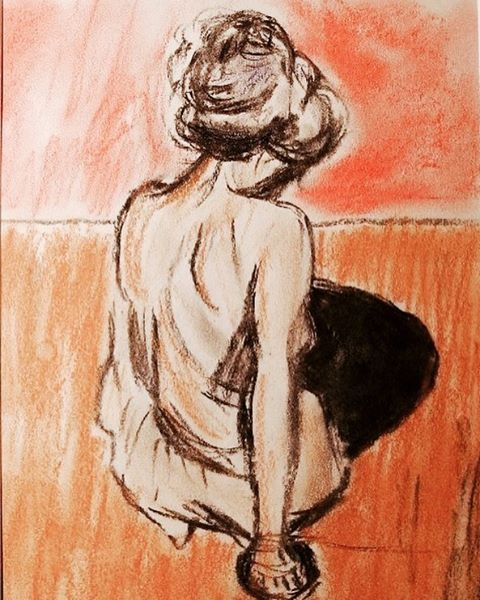 """""""My study of Edvard Munch's Modèle Assis (Pastels and charcoal)"""