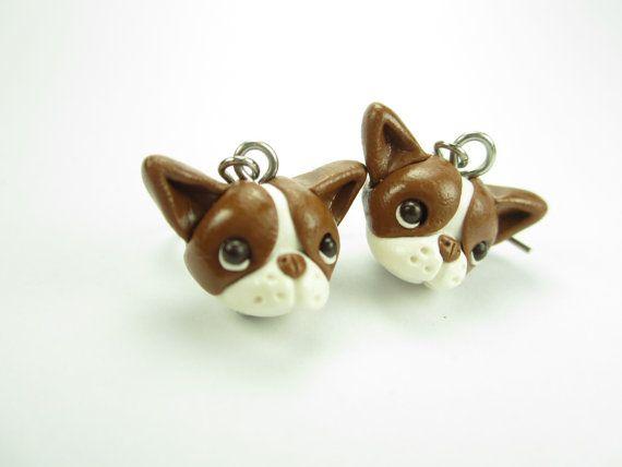 Brown Red Boston Terrier Earrings by LittleShopOfClays