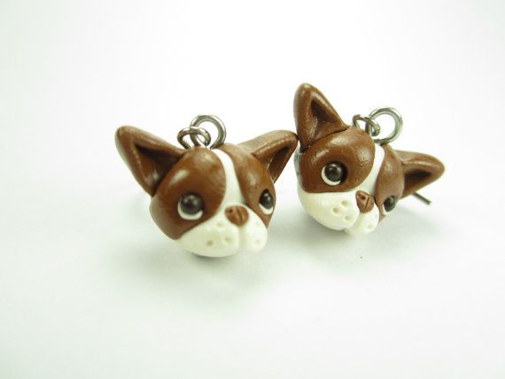 Brown Red Boston Terrier Earrings by LittleShopOfClays