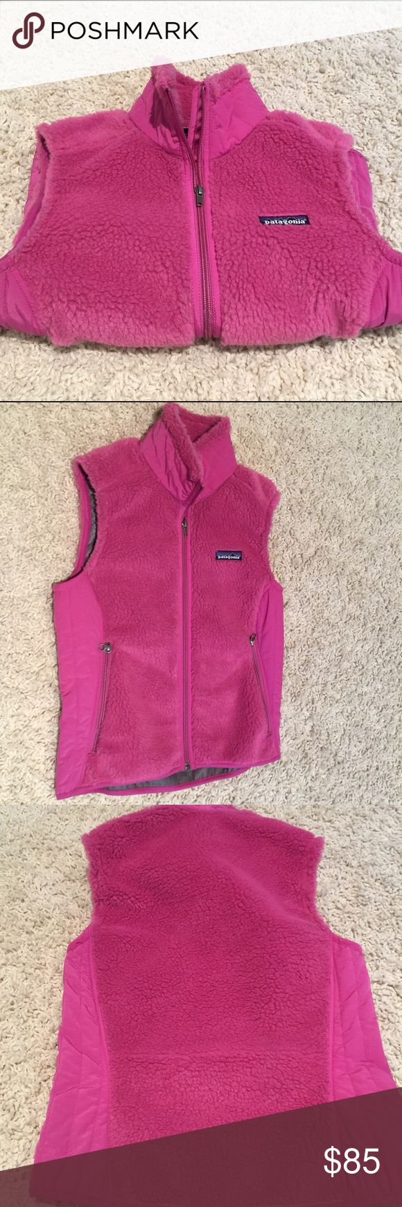 "Patagonia Pink Vest...Brand New...Small Never worn!! Measures 17"" across the chest. Has a fuzzy pile on the front and back and the inside has an extra layer for warmth!! Patagonia Jackets & Coats Vests"