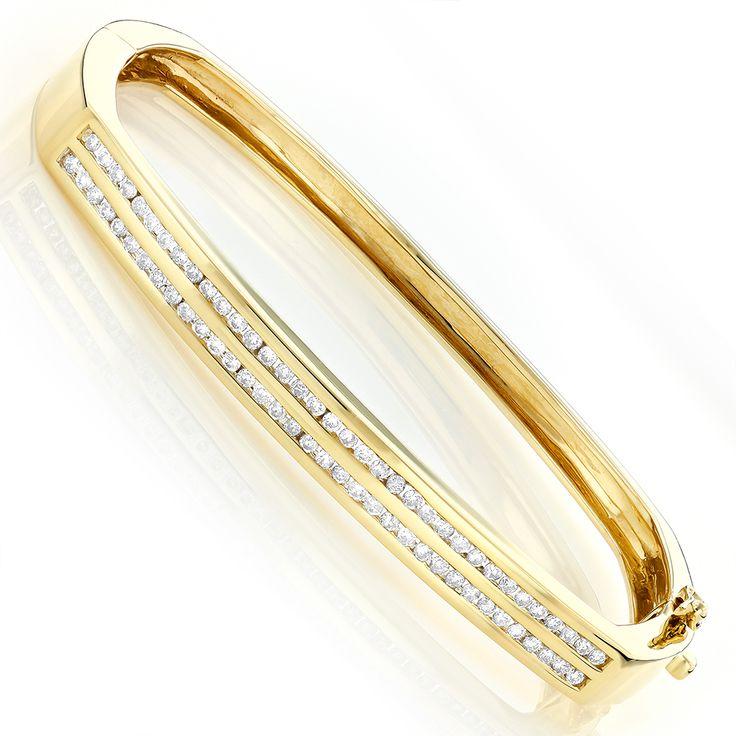 Ladies Round Diamond Bangle Bracelet 1ct 14K