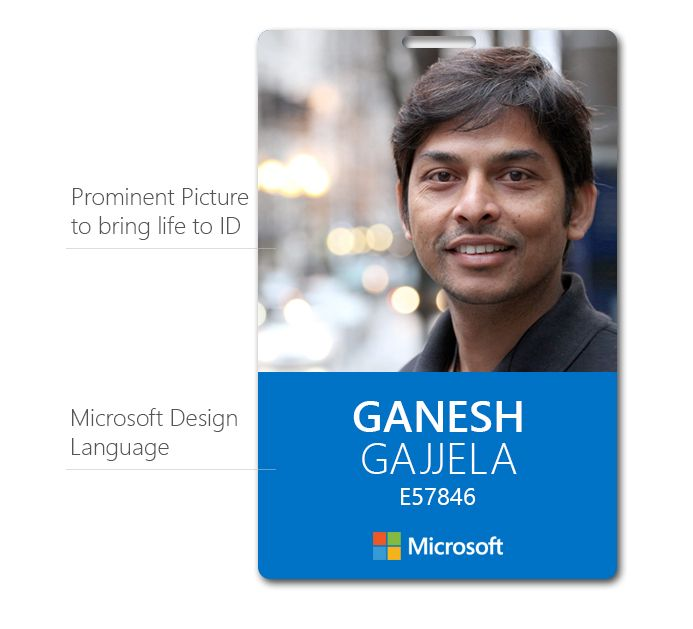tried to recreate Microsoft ID card with Microsoft language