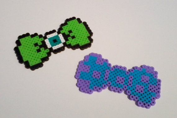 Monsters Inc Mike and Sully Hair Bows or Bow Ties perler beads by BurritoPrincess