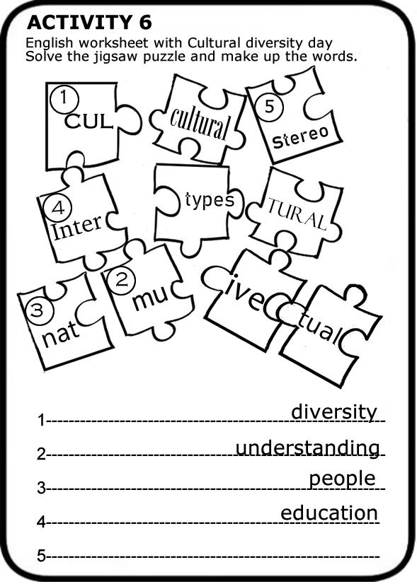 Cultural Diversity Day Worksheets To Print