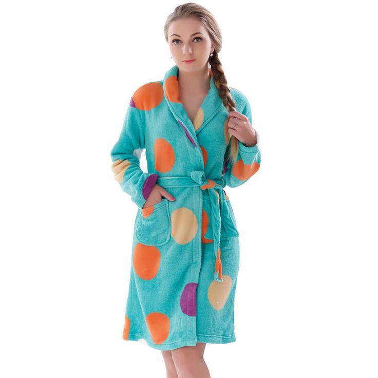 New Women Coral Fleece Winter Autumn Warm Bathrobe Nightgown Kimono Dressing Gown Sleepwear Robe For Lady