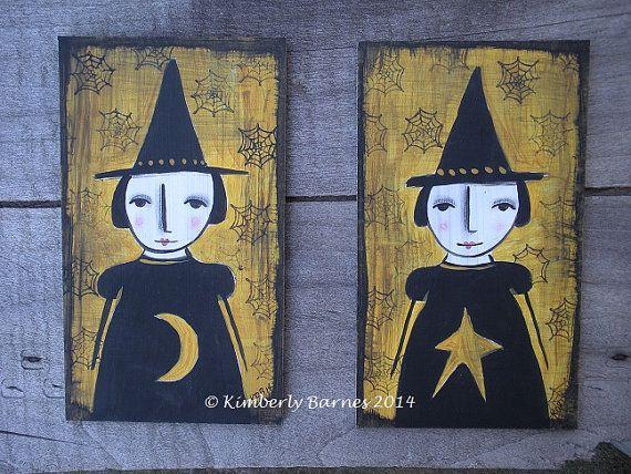 Primitive Witches Art on Masonite 2 pcs by KimberlyBarnesArt, $23.00