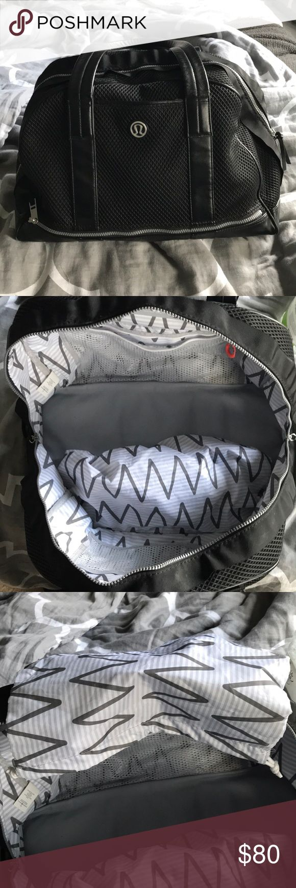 LULULEMON bag In used condition with no noticeable flaws besides maybe a mark or 2 on the fabric you can hardly see. Still have the dirty laundry or shoe bag and yoga strap both never used. lululemon athletica Bags