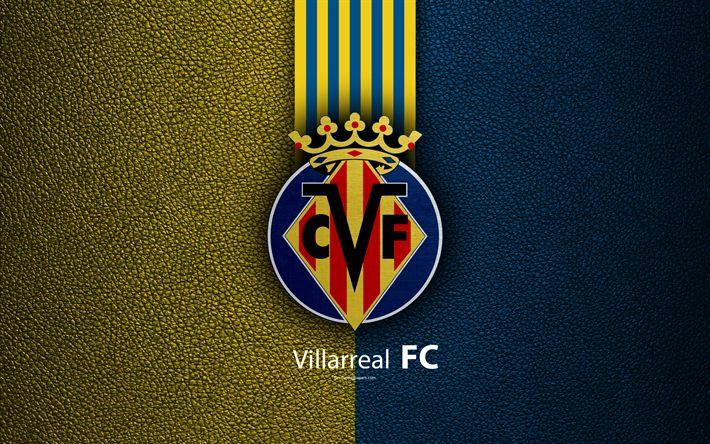 Download wallpapers Villarreal FC, 4K, Spanish football club, La Liga, logo, emblem, leather texture, Villarreal, Spain, football