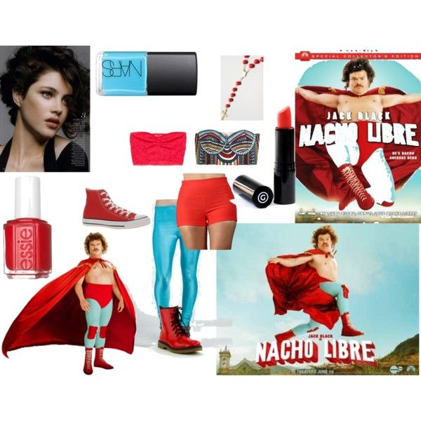 Halloween Costume: Nacho Libre (Female) by giselleamaris on Polyvore featuring Mara Hoffman, American Eagle Outfitters, Converse, NARS Cosmetics, Essie, Gee Beauty, combat boots, bustier tops, rosary necklaces and aztec pattern